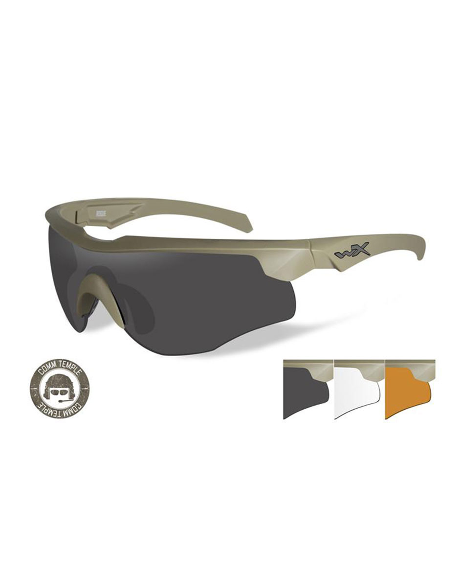 Wiley  X Tactical Ballistic Protection Goggles Mod Rogue, Comm Tan Frame, Smoke Grey